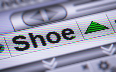 Shoe index on the screen. Up.