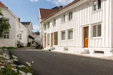 White houses of Flekkefjord, Norway