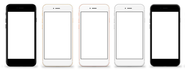 Set of five smartphones gold, rose, silver and black - blank screen and isolated on white background, high resolution, deitailed