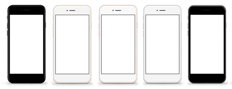 Set of five smartphones gold, rose, silver and black - blank screen and isolated on white background, high resolution, deitailed. Template, mockup.