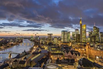 skyline of Frankfurt am Main in the evening