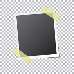 Abstract photo frame fixed by sticky tape isolated on transparent background. Detailed vector eps10 illustration with transparency.