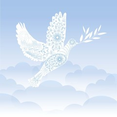 Stylized ornamental white pigeon with olive branch on blue sky background, stock vector illustration