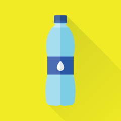 Plastic bottle of fresh water icon in flat style isolated on yellow background. Stylized vector eps8 illustration.