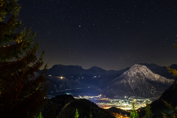 Swiss Alps mountain city Brig by night, taken during ski holiday in Swiss Chalet