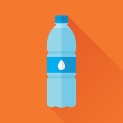 Plastic bottle of fresh water icon in flat style isolated on orange background. Stylized vector eps8 illustration.