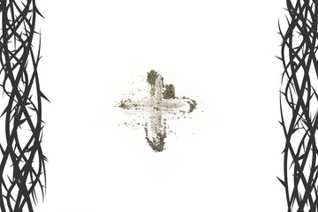 Cross made of ashes, Lent season background