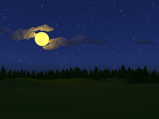 Low poly landscape night