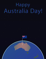 Background of Australia Day , National Celebration Card, , on a globe the planet Earth, in space Flag