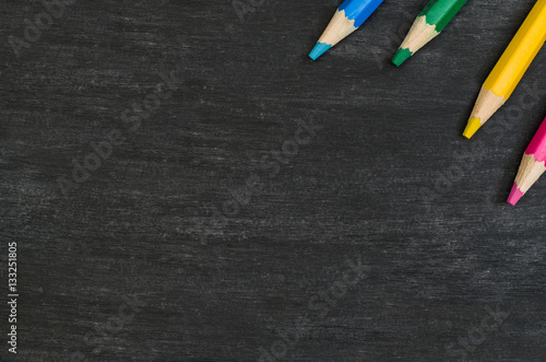 School Supplies Border On Black Chalkboard Background Top View Product Photograph With Copy Space For