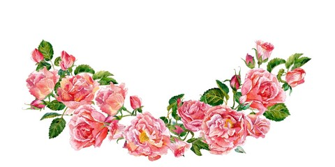 Garland of roses. Watercolor.