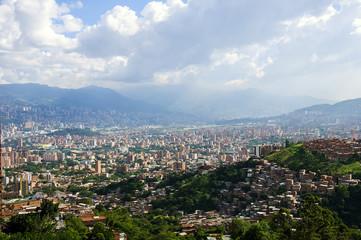 Sun setting over Medellin in Colombia