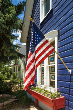 American flag on a house in Crested Butte