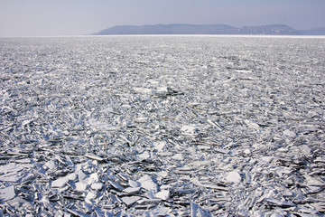Lake Balaton in Hungary covered with floes during an icy winter.