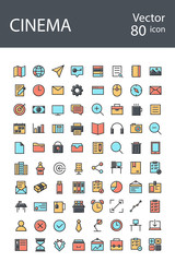 cinema icons set in retro style with mixed color, the trend in 2017, an excellent solution for SEO, mobile applications, web sites, pixel perfect