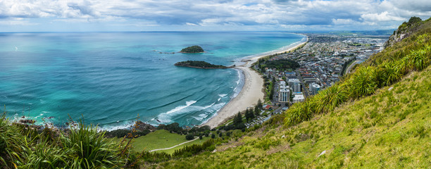 Panoramic view from summit walks of Mt Maunganui