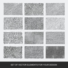 Collection of textures, brushes, graphics, design element. Hand-