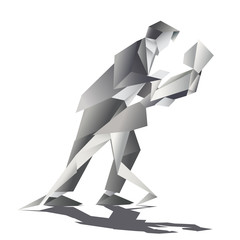 Canvas Prints Geometric animals Graphic monocromatic origami dancers the man dipping the woman bakwards in an intimate moment