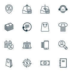 Set Of 16 E-Commerce Icons. Includes Callcentre, Handbag, Mobile Service Symbols. Beautiful Design Elements.