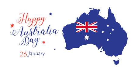 Happy Australia day inscription Poster with map of Australia and Australian flag. Vector Illustration. Holiday calligraphy greeting card design.