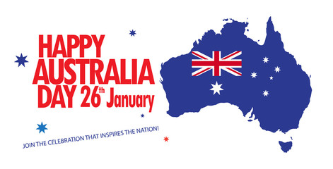 Australia day Poster with map of Australia and Australian flag. Vector Illustration. Holiday Festive background for greeting cards or web banners design. Advertising, Celebration, Congratulation card.