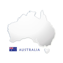 Map of Australia and Australian flag vector illustration for Australia Day greeting cards or web banners design. Advertising, Celebration, Congratulation.