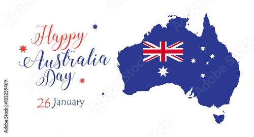 Happy australia day inscription poster with map of australia and happy australia day inscription poster with map of australia and australian flag vector illustration m4hsunfo