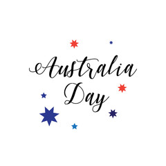 Australia Day calligraphy inscription poster. Holiday vector illustration. For Advertising, Traveling, Promotion, Celebration.