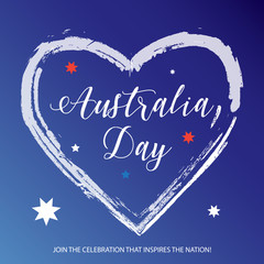 Happy Australia Day lettering poster in Australian flag color with heat shape and stars. Holiday vector illustration.