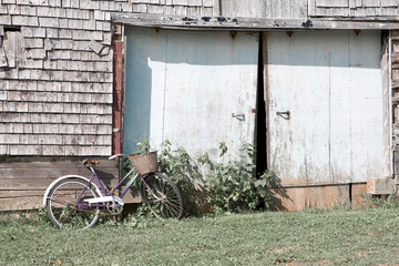 Lady's bicycle with a basket leaning against an old barn