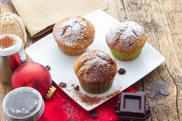 Muffins on a wooden table