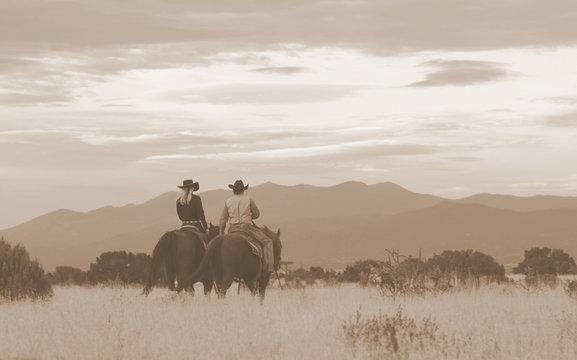 Western scene in Santa Fe, New Mexico.