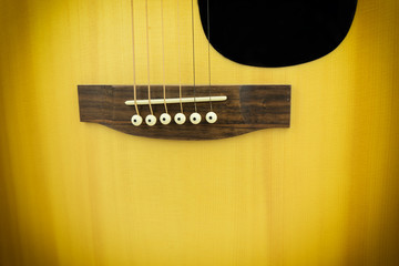 close-up body of guitar and steel line - can use to display or montage on product