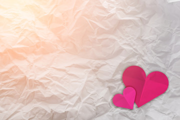 Heart from paper Valentines day card background