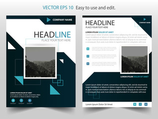 Blue Black Square Vector annual report Leaflet Brochure Flyer template design, book cover layout design, Abstract blue presentation templates