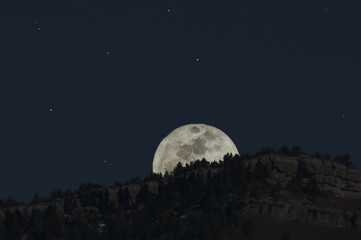Moon Over the Sandia Mountains