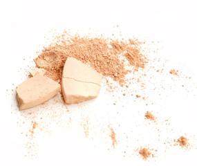 Make-up crushed powder isolated on white background