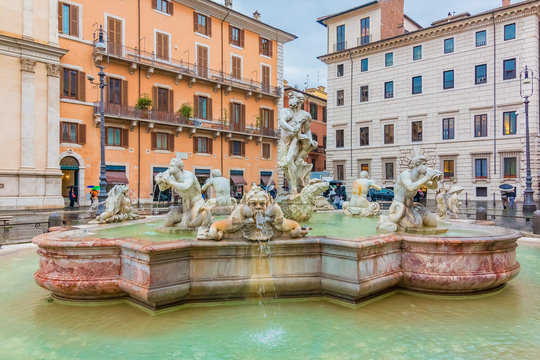 Moor Fountain in Piazza Navona Rome Italy