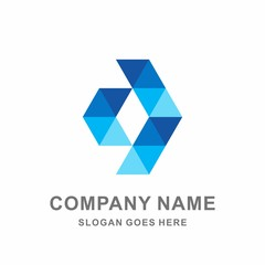 Geometric Triangle Arrow Computer Technology Connection Apps Business Company Stock Vector Logo Design Template
