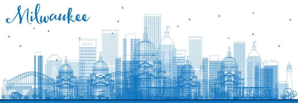 Outline Milwaukee Skyline with Blue Buildings.