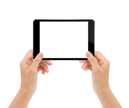 mock-up tablet in woman hand isolated on white clipping path ins