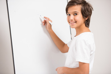 Kid with white board