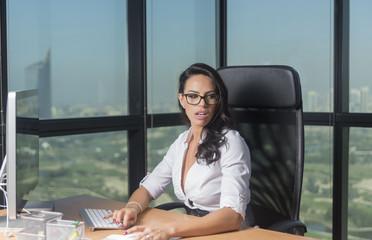 Sexy secretary at computer