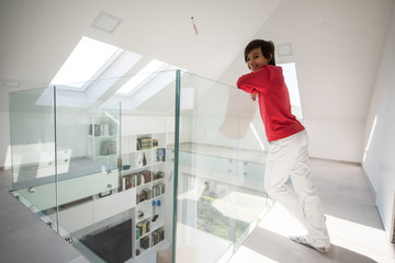 Child inside interior of modern home