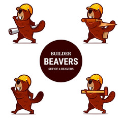 Set of beaver animal character with hammer, trowel and paper pla