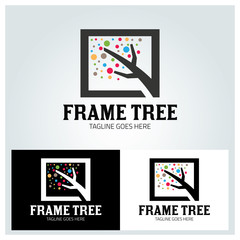 Frame tree logo design template ,Colorful logo design concept ,Vector illustration