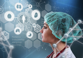 Beautiful female doctor and virtual 3D illustration computer interface. Innovative technologies in science and medicine concept