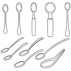 vector set of spoon