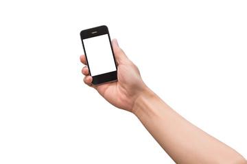 hand holding black phone isolated on white ..