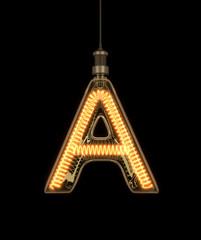 Alphabet A made of light bulb. 3D illustration